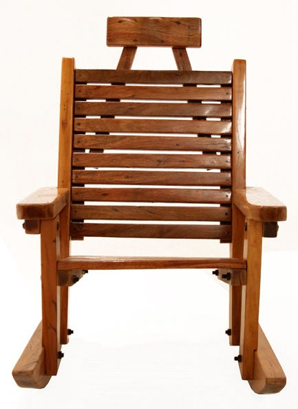 Brazilian Solid Peroba de Rosa Heavy Wood Rocking Chair For Sale