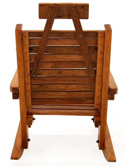 Solid Peroba de Rosa Heavy Wood Rocking Chair In Good Condition For Sale In Hollywood, CA