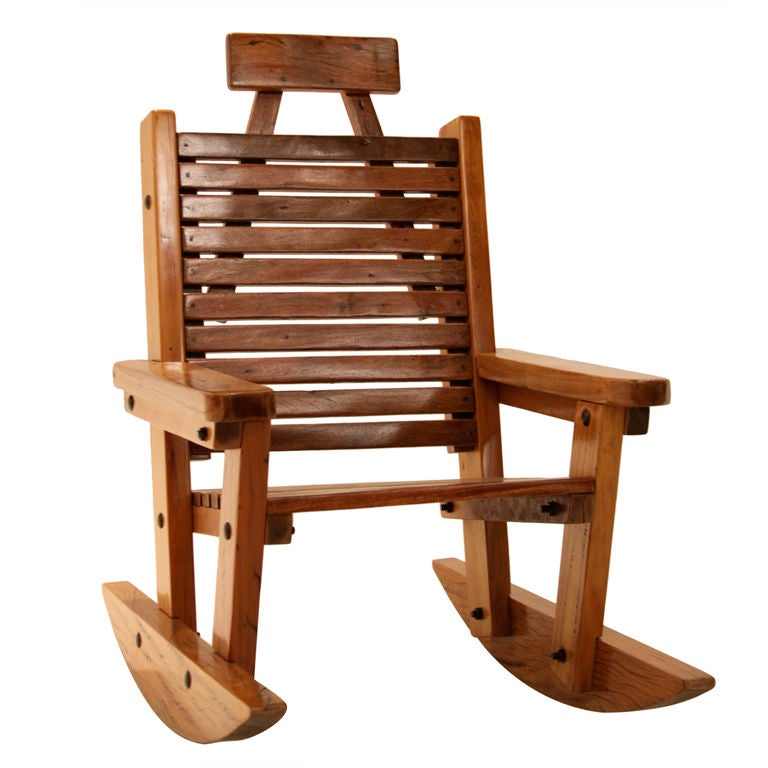 Solid Peroba de Rosa Heavy Wood Rocking Chair For Sale