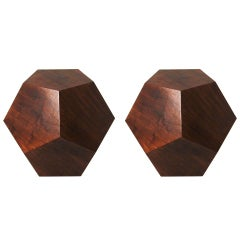 The Dodecahedron Side Table in Walnut by Thomas Hayes Studio