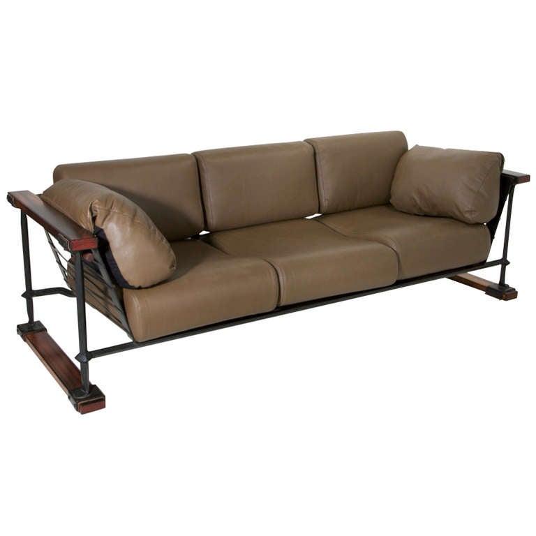 Rare Black Iron Oak Amp Olive Green Leather Sofa By Cleo Baldon