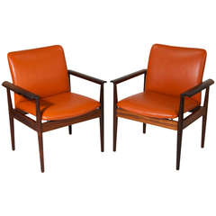 "Rare Pair of Finn Juhl Rosewood and Leather ""Diplomat"" Armchairs"