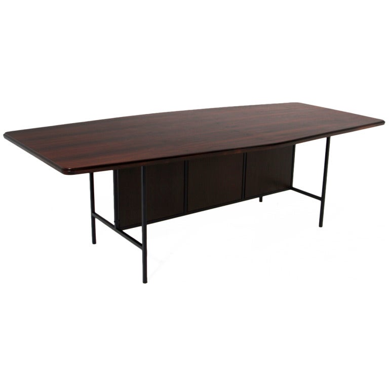Geraldo de Barros Exotic Brazilian Hardwood Dining Table with Iron Base