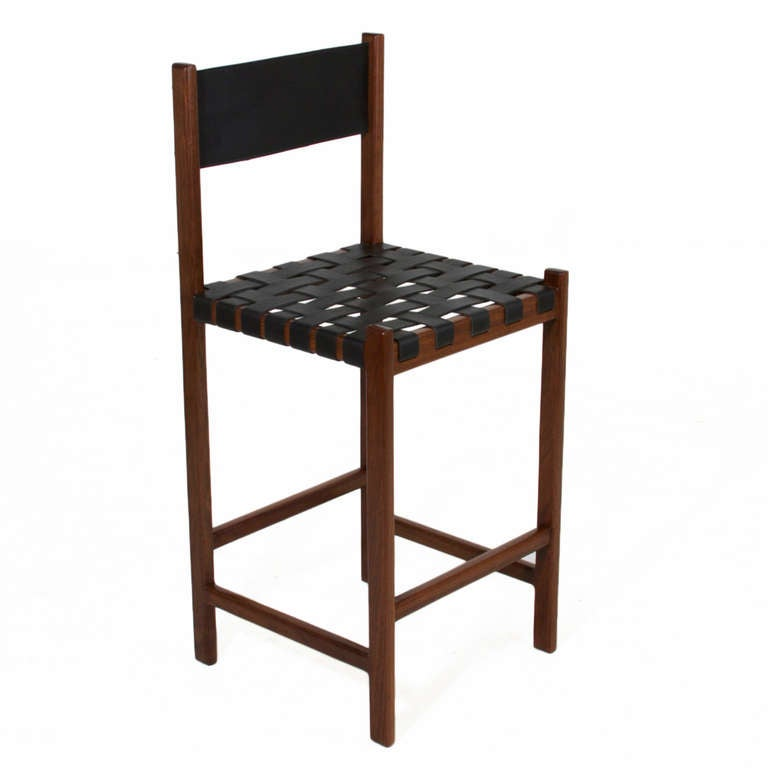 Basic Leather Strap Bar Stool By Thomas Hayes Studio For