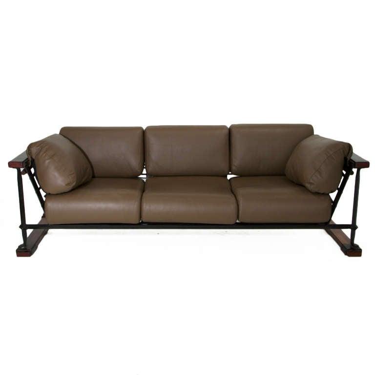 Rare Black Iron, Oak And Olive Green Leather Sofa By Cleo Baldon