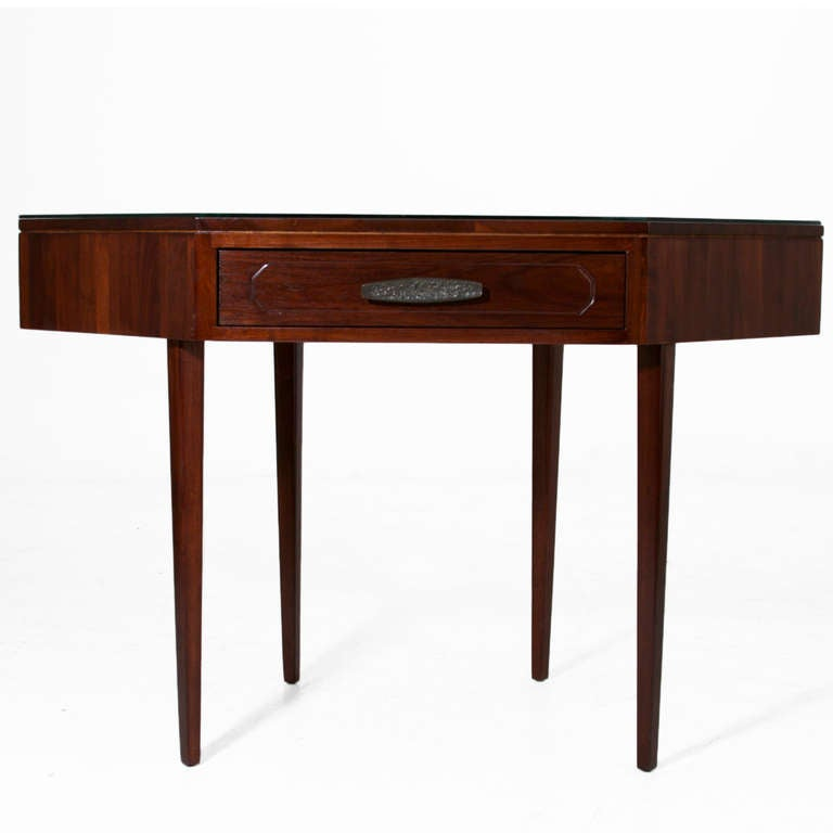 Solid Walnut Monteverdi and Young Corner Writing Desk In Good Condition In Hollywood, CA