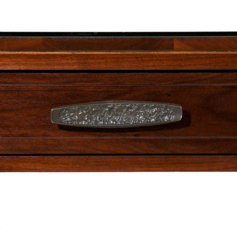 Mid-20th Century Solid Walnut Monteverdi and Young Corner Writing Desk