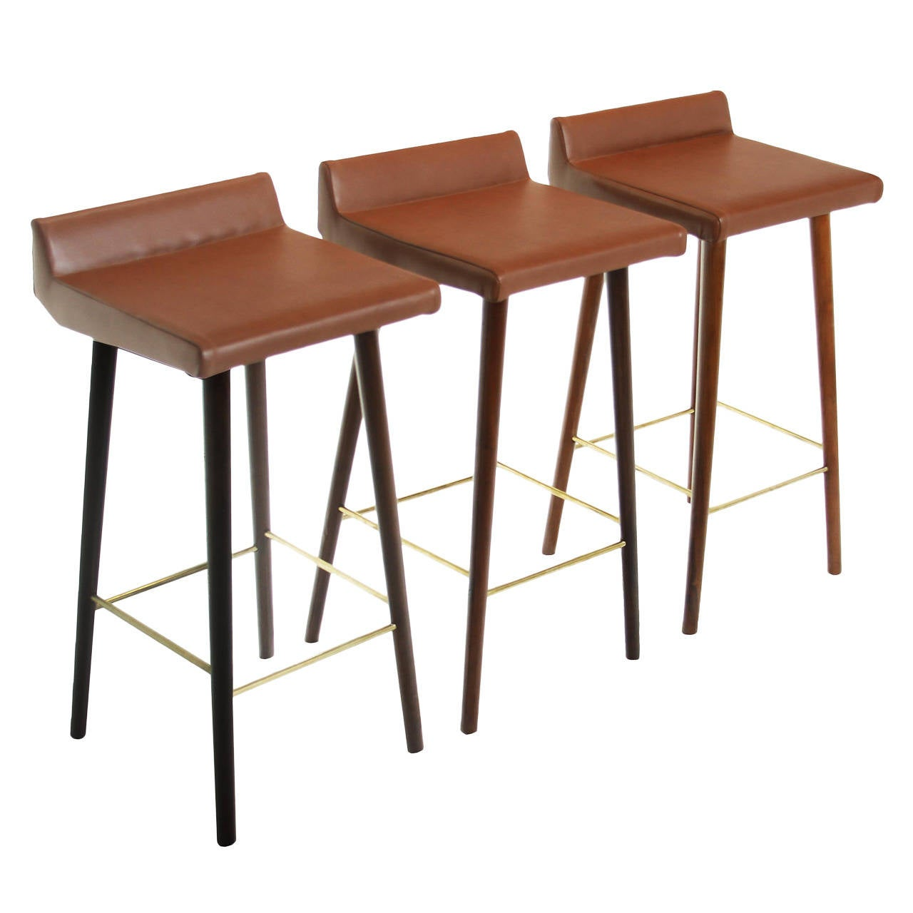 Marvelous photograph of Set of Three Wood Leather and Brass Bar Stools by Cimo from Brazil at  with #7D4831 color and 1280x1280 pixels