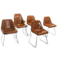Set of Six Zalszupin for L'Atelier Leather and Chrome Dining Chairs