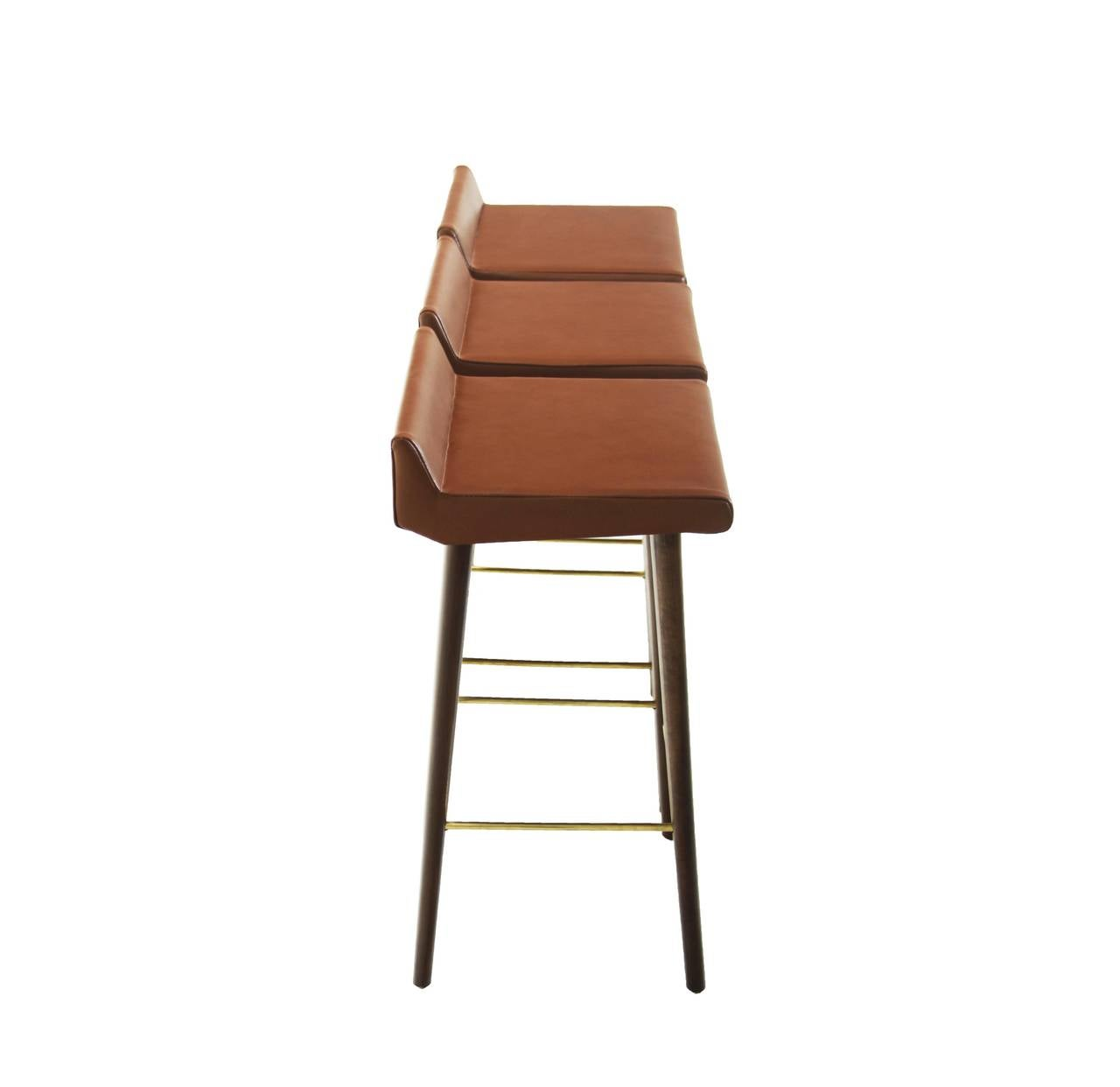 Very Impressive portraiture of Set of Three Wood Leather and Brass Bar Stools by Cimo from Brazil at  with #824A31 color and 1280x1242 pixels