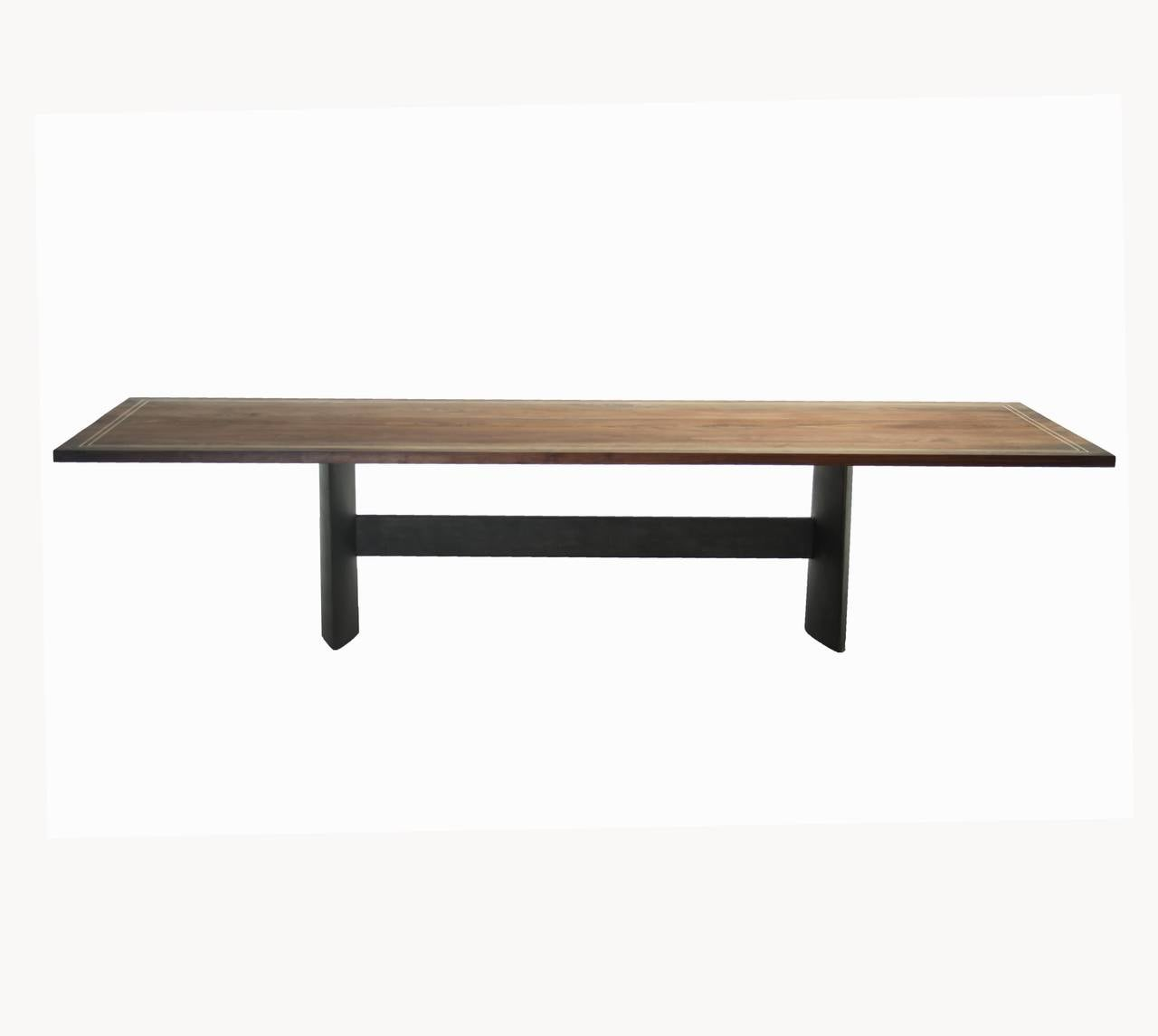 american custom walnut dining table with solid brass inlay for sale - Walnut Dining Table