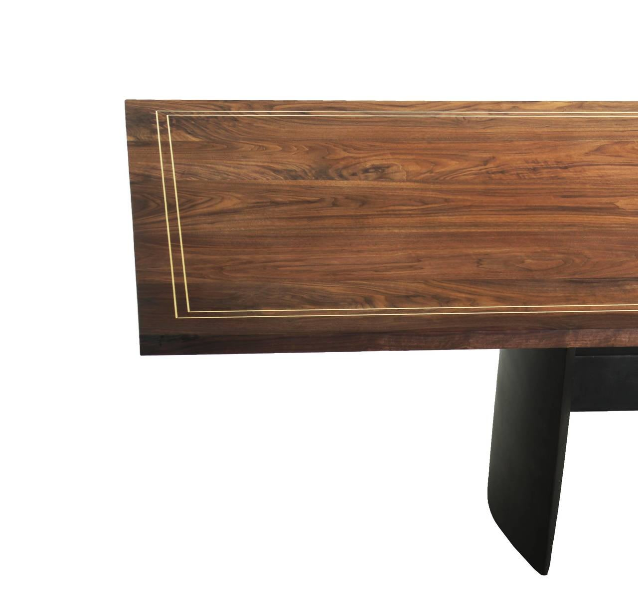 Custom walnut dining table with solid brass inlay at 1stdibs for Custom dining tables