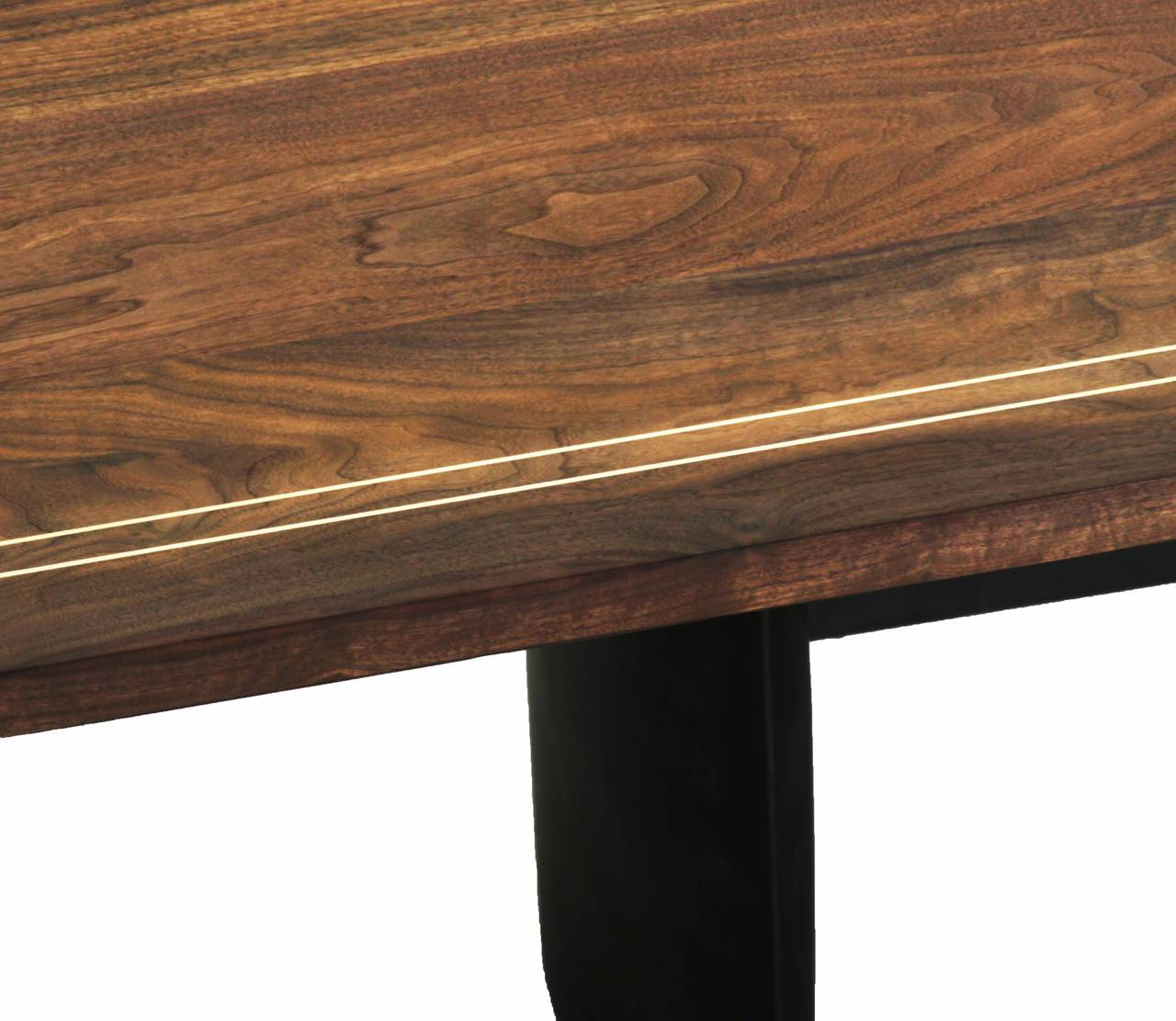 Custom Walnut Dining Table With Solid Br Inlay In Excellent Condition For Hollywood