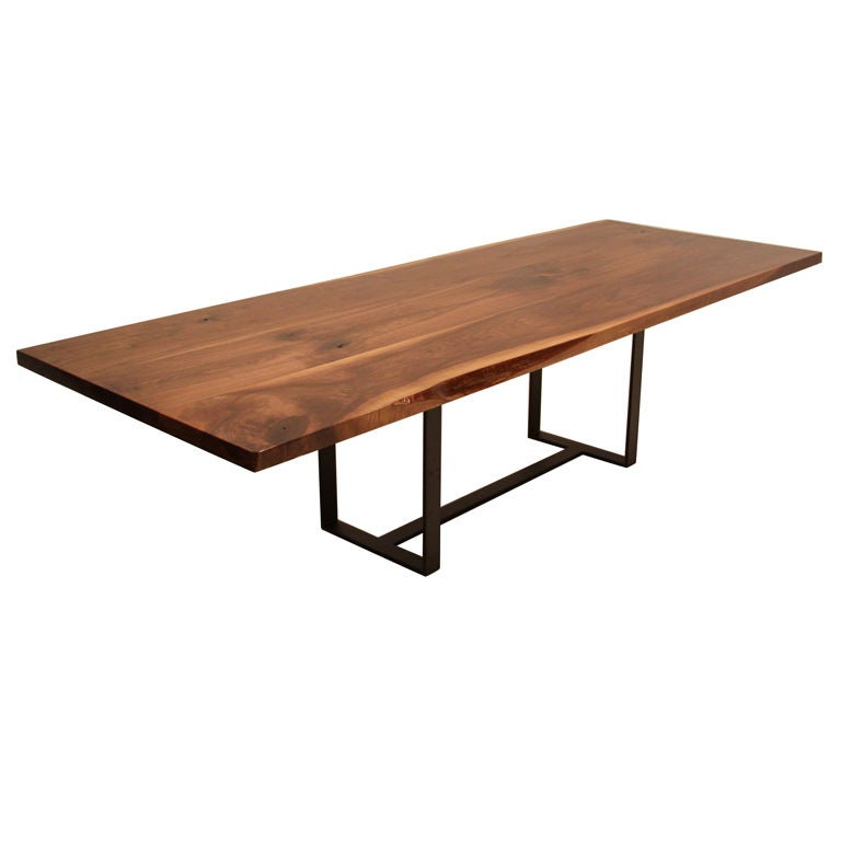Large live edge black walnut dining table for Dining room tables large