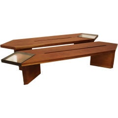 Pair of Brazilian Solid Ipe Benches
