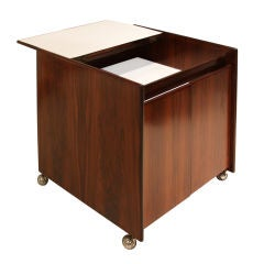 Sergio Rodrigues Rosewood Bar Cabinet on casters