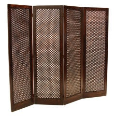 Large Brazilian, Latticed Folding Screen in Exotic Hardwood