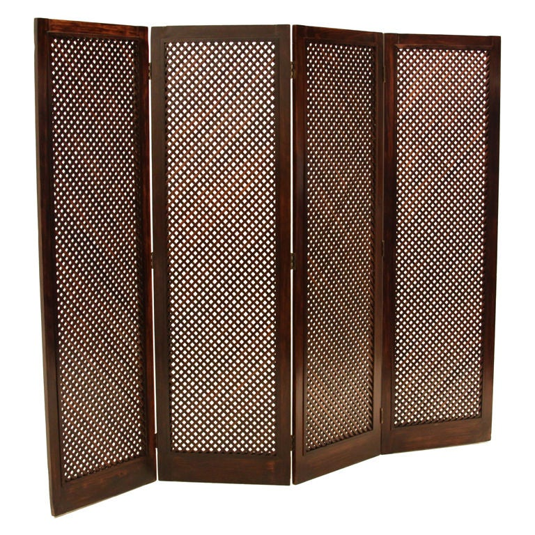 Mid-Century Brazilian Jacaranda Wood Four Panel Lattice Folding Screen