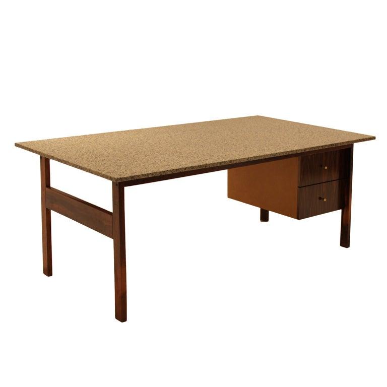 Midcentury Architectural Brazilian Exotic Hardwood Desk with Granite Top