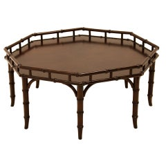Faux Bamboo Octagon Cocktail Coffee Table T.H. Robsjohn-Gibbings for Widdicomb