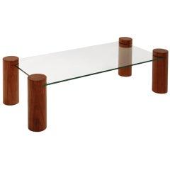 Solid Caviuna Brazilian Glass Cantilevered Coffee Table