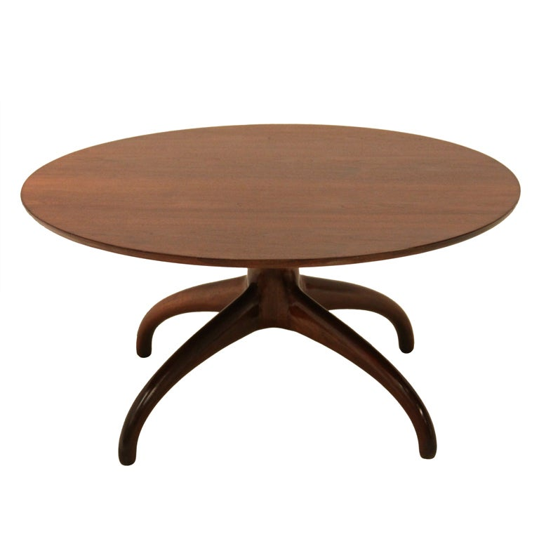 Round handmade walnut coffee table at 1stdibs Handcrafted coffee table