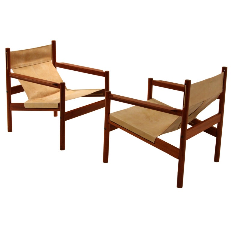 Pair Of Roxinho Wood Leather Sling Chairs By Michel