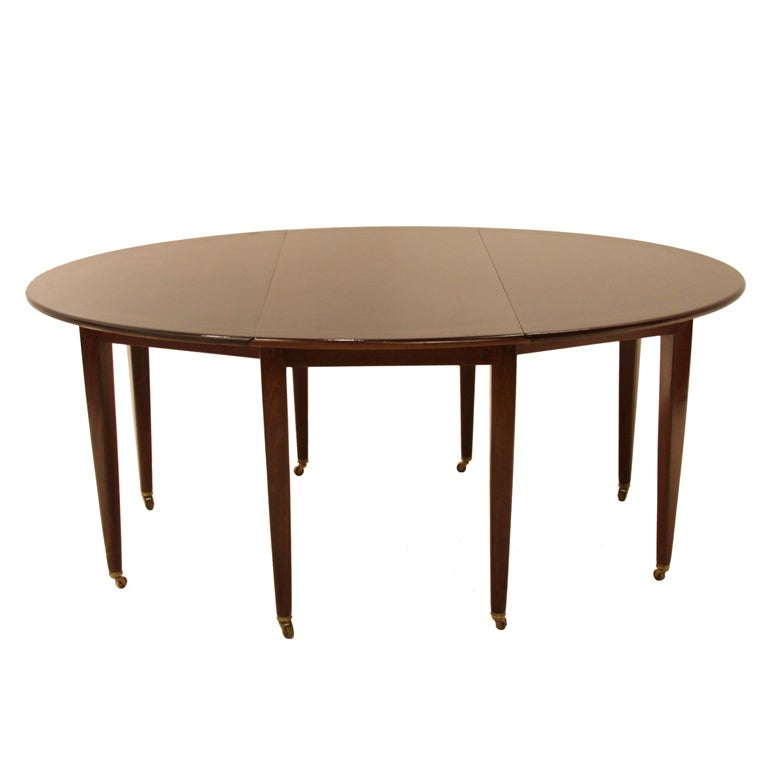 Oval Drop Leaf Mahogany Dining Table On Casters By Edward Wormley For  Dunbar 1