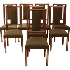 Set of Eight Brazilian Imbuia and Chrome Inlay Dining Chairs