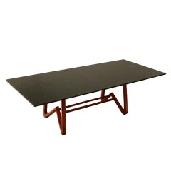 Solid Caviuna Dining Table with Granite Top by Scapinelli