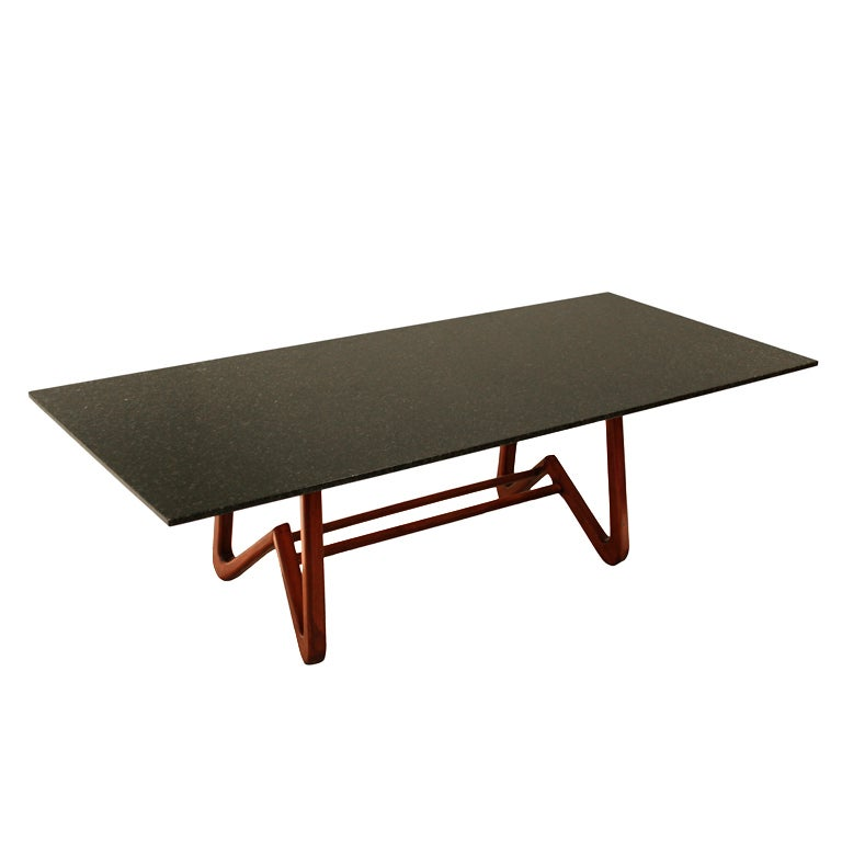 solid caviuna dining table with granite top by scapinelli for sale at 1stdibs. Black Bedroom Furniture Sets. Home Design Ideas