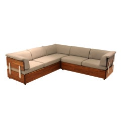 Rare Solid Stack Laminate Oak Sofa by Charles Gibilterra