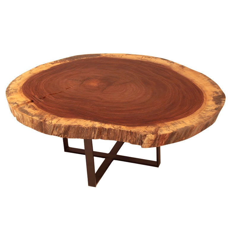 """Coffee Table Made Out Of Tree: Solid """"Devil's Ear"""" Tree Round Coffee Table At 1stdibs"""