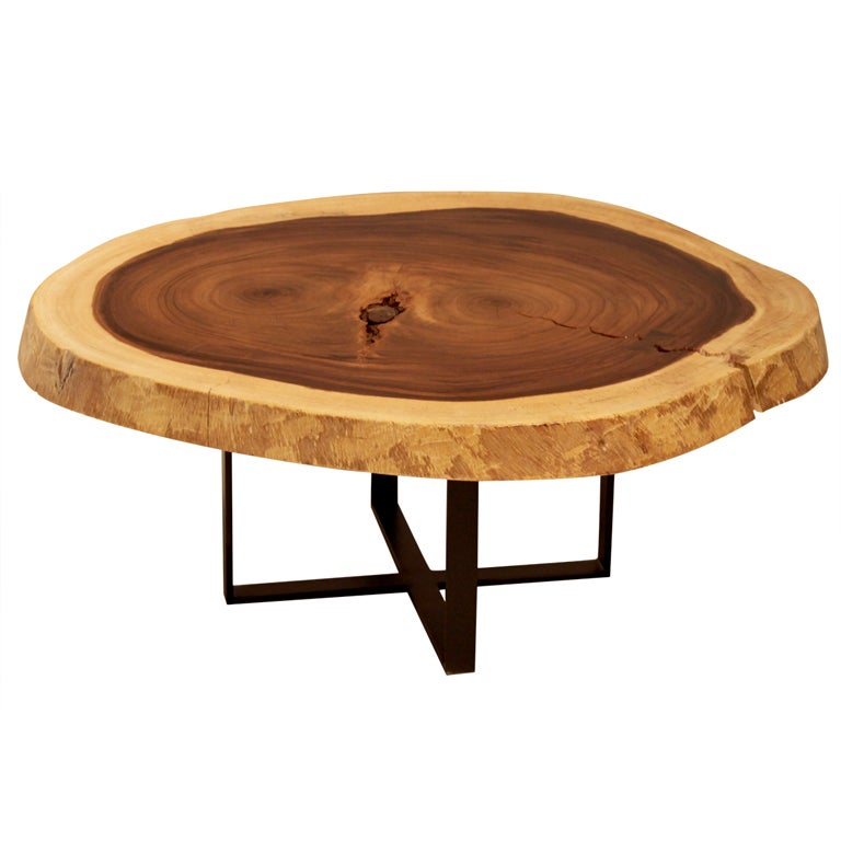 this solid devils ear tree round coffee table with metal base is