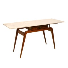 Solid Caviuna console table or desk with marble top