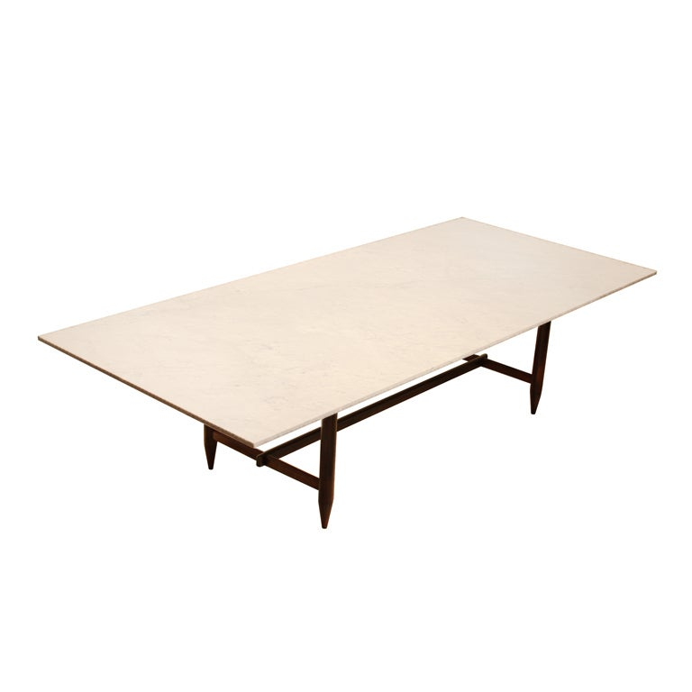 Solid Rosewood Dining Table With Marble Top By Sergio Rodrigues At