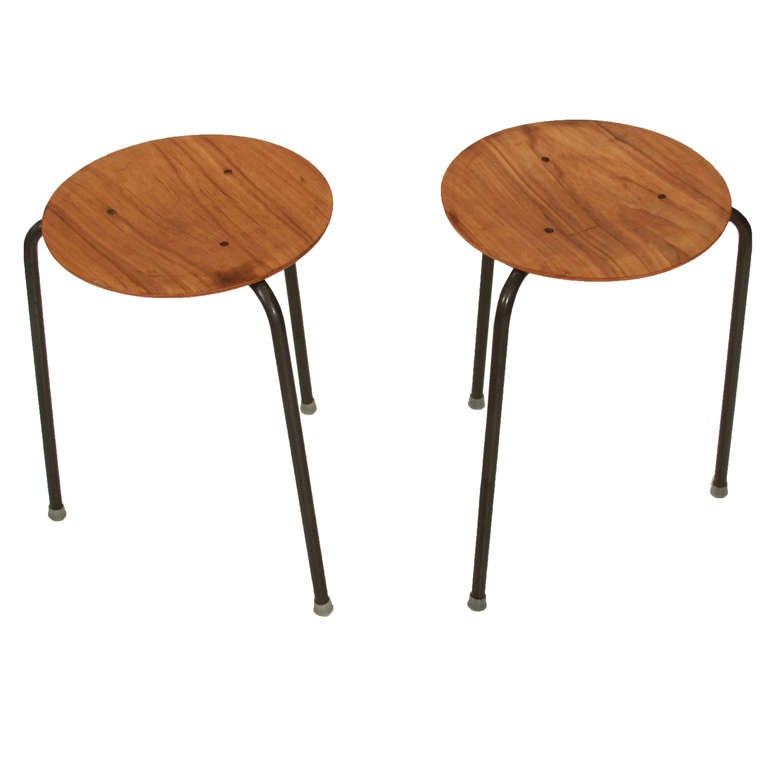 Rare Large Set Of Eight Stacking Dot Stools By Arne