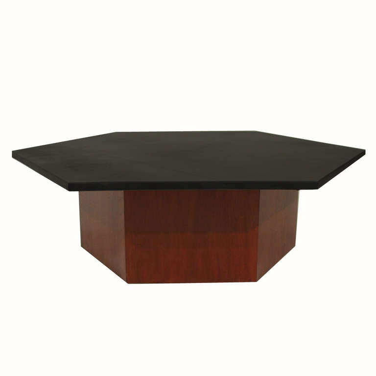 Solid Walnut Hexagon Coffee Table With Leather Hexagon Top At 1stdibs