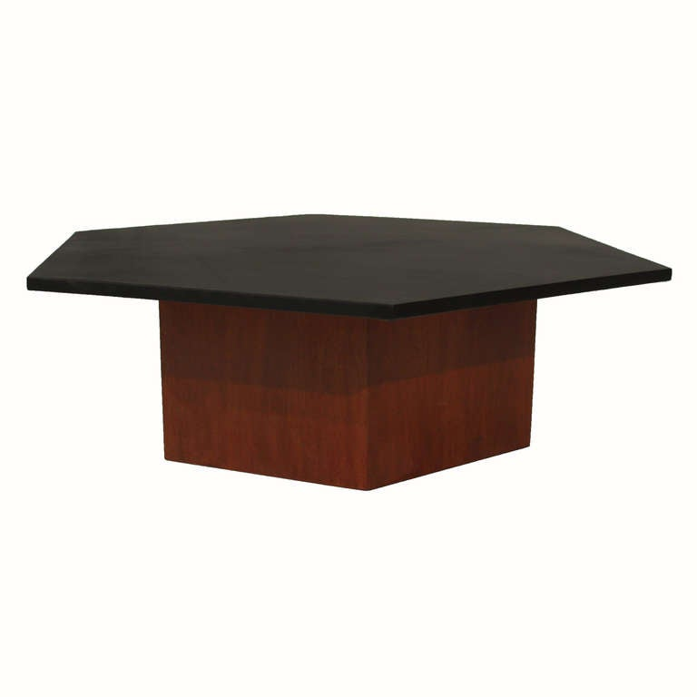 Solid walnut hexagon coffee table with leather hexagon top at 1stdibs Coffee table with leather top