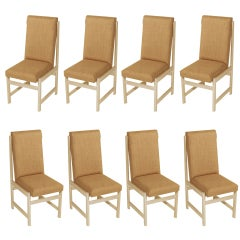 Set of Eight Solid Bleached Vinhatico & Linen Basic Dining Chairs by Celina