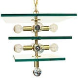 Custom triple-tiered square glass and brass chandelier by Thomas Hayes Studio image 2