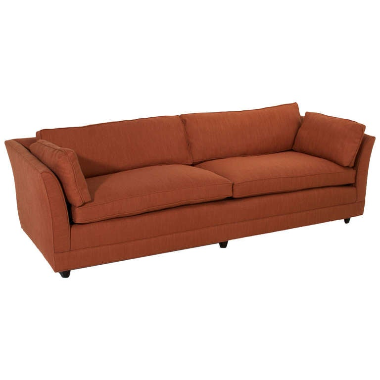 burnt orange linen sofa in the manner of dunbar for sale