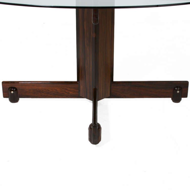 Solid Rosewood and Round Glass Dining Table by Sergio  : banerjtable4l from 1stdibs.com size 768 x 768 jpeg 21kB