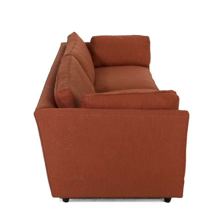 Burnt Orange Linen And Walnut Sofa In The Manner Of Dunbar For Sale At 1stdibs