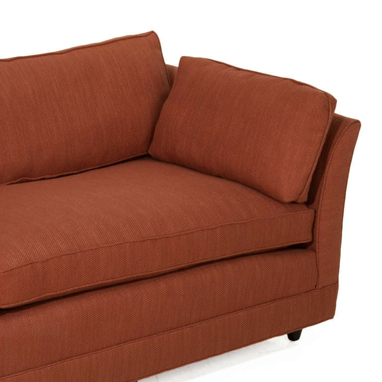 Burnt Orange Linen And Walnut Sofa In The Manner Of Dunbar