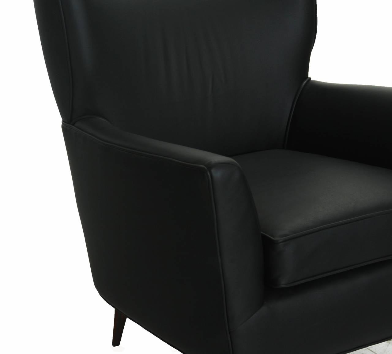 Black Leather Armchair Club Chair with Lathed Wood Legs by Joaquim Tenreiro For Sale 2