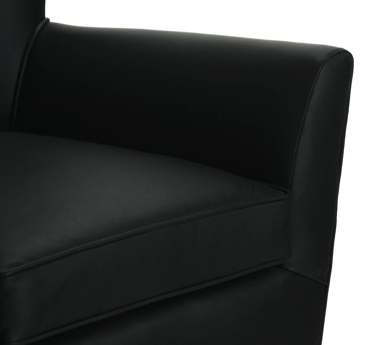 Black Leather Armchair Club Chair with Lathed Wood Legs by Joaquim Tenreiro For Sale 1