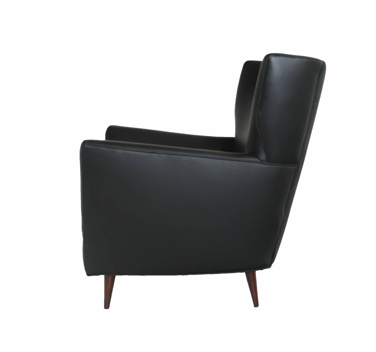 Black Leather Armchair Club Chair with Lathed Wood Legs by Joaquim Tenreiro In Good Condition For Sale In Los Angeles, CA