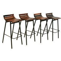 Highly figural Macassar Ebony slat bar stools