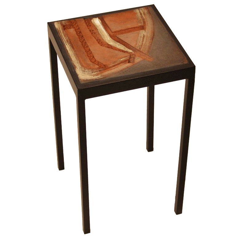 Unique ceramic tile side table by marcel hoessly at 1stdibs for Unique side tables